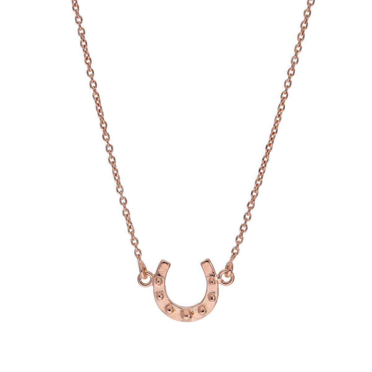 Rose Gold Plated Sterling Silver Lucky Horseshoe Necklace