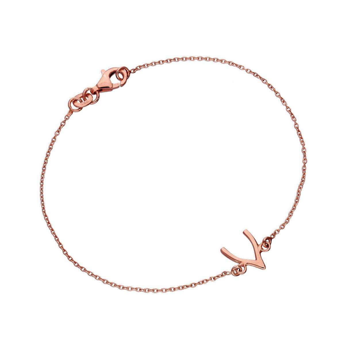 Rose Gold Dipped Sterling Silver Wishbone 7 Inch Bracelet