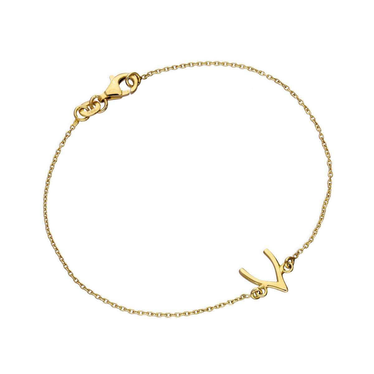 Gold Plated Sterling Silver Wishbone 7 Inch Bracelet
