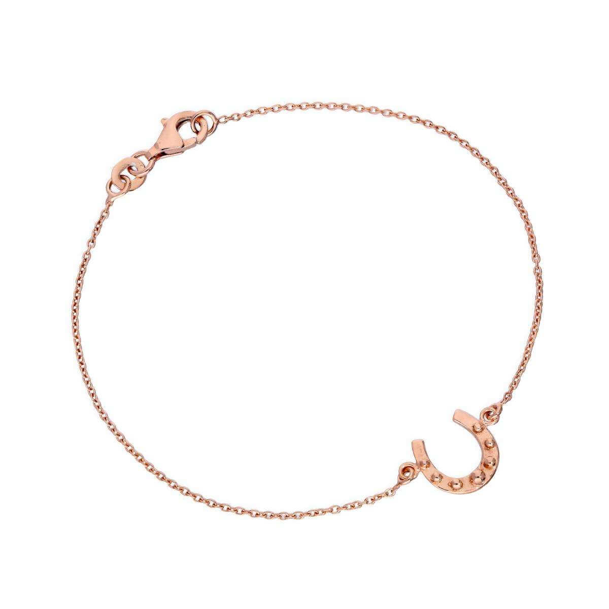 Rose Gold Plated Sterling Silver Lucky Horseshoe 7 Inch Bracelet