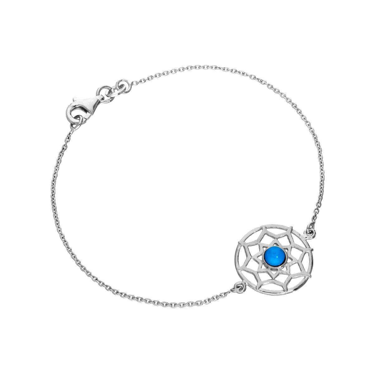 Sterling Silver & Blue Enamel Dreamcatcher Bracelet 7 Inches