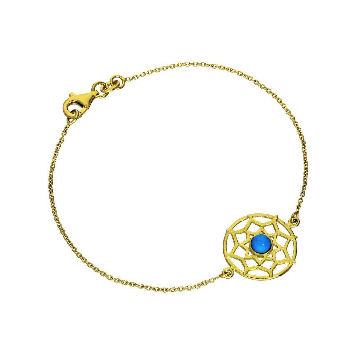 Gold Plated Sterling Silver & Blue Enamel Dreamcatcher Bracelet 7 Inches