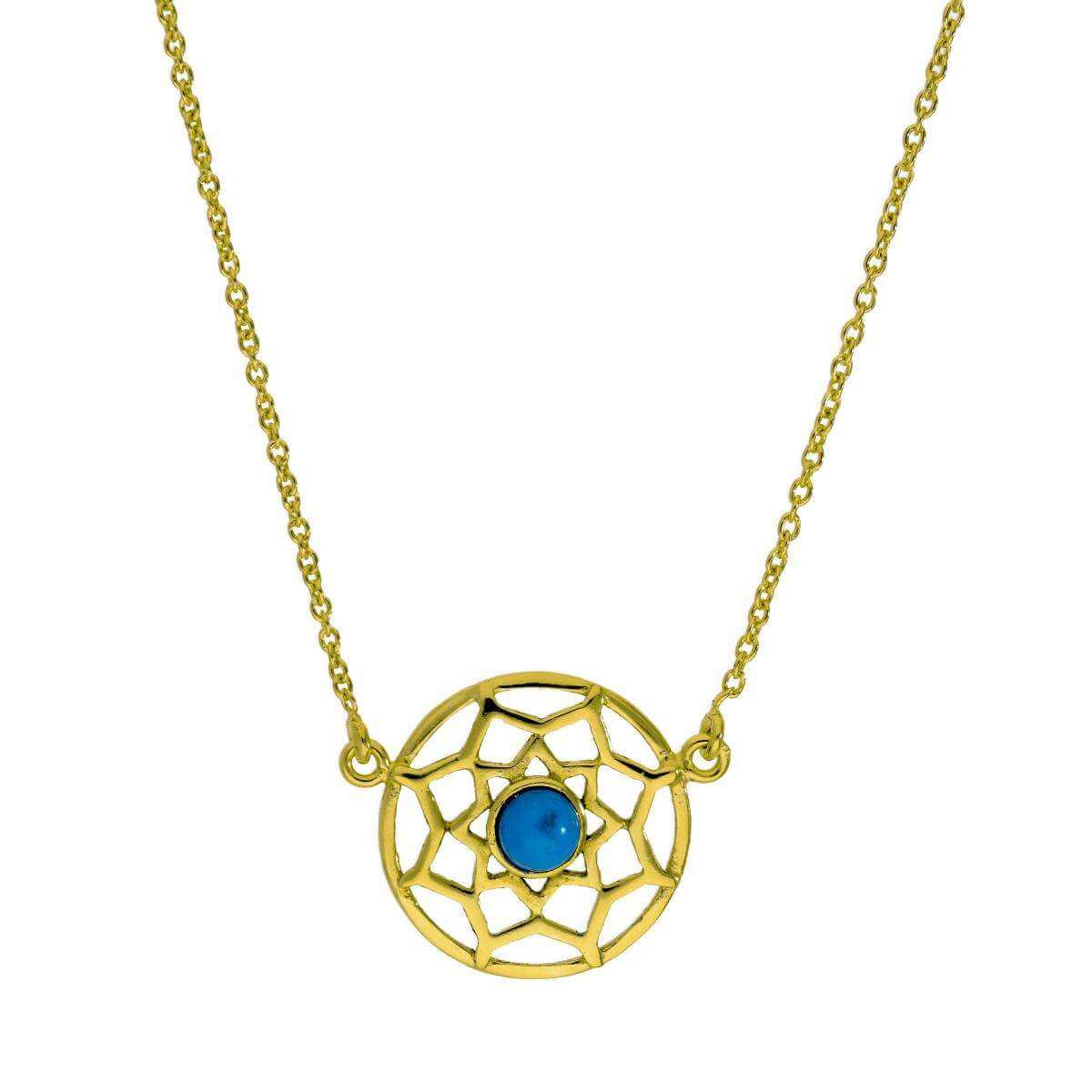 Gold Plated Sterling Silver & Blue Enamel Dreamcatcher Necklace w 18 Inch Chain