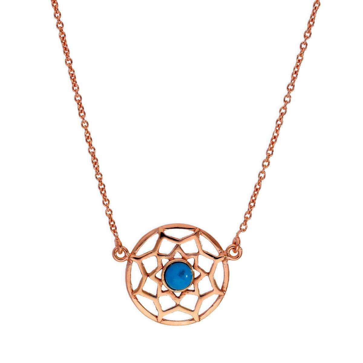 Rose Gold Plated Sterling Silver & Blue Enamel Dreamcatcher Necklace w 18 Inch Chain