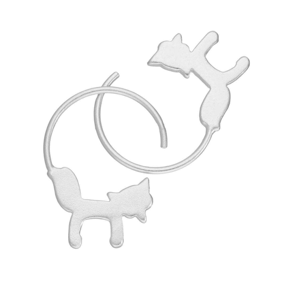 Sterling Silver Fox Pull Through Earrings