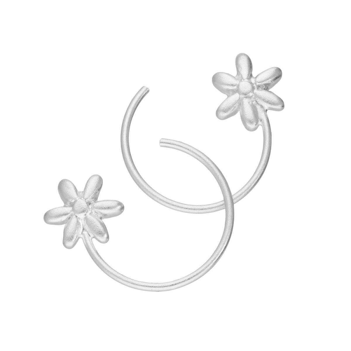 Sterling Silver Flower Pull Through Earrings