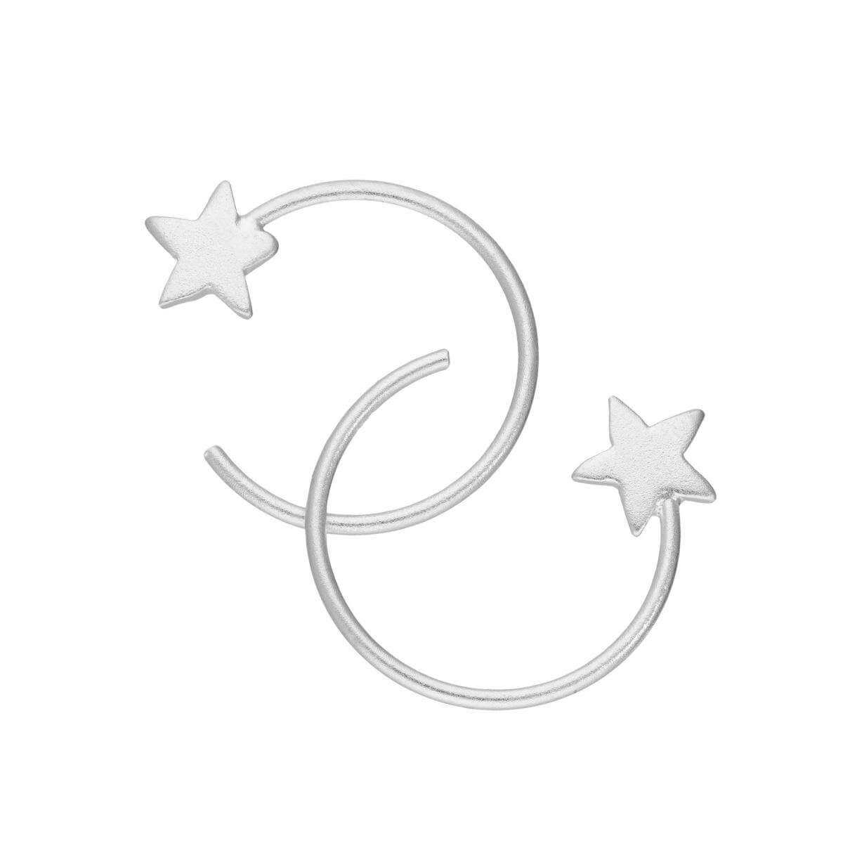 Sterling Silver Star Pull Through Earrings
