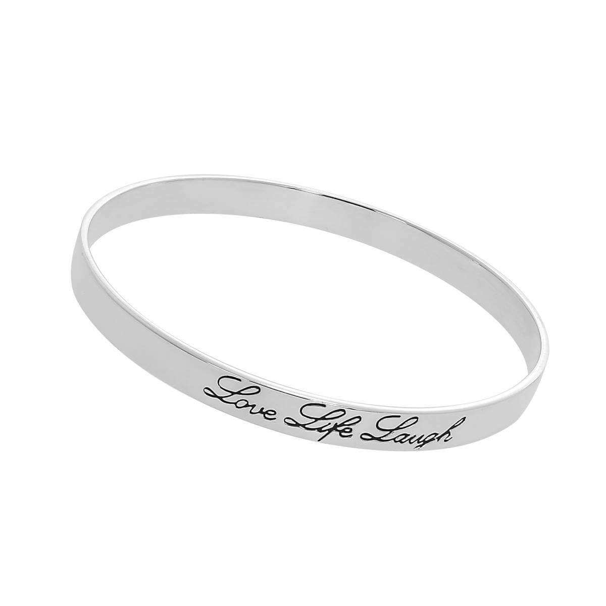 Sterling Silver Love Life Laugh 64mm Bangle
