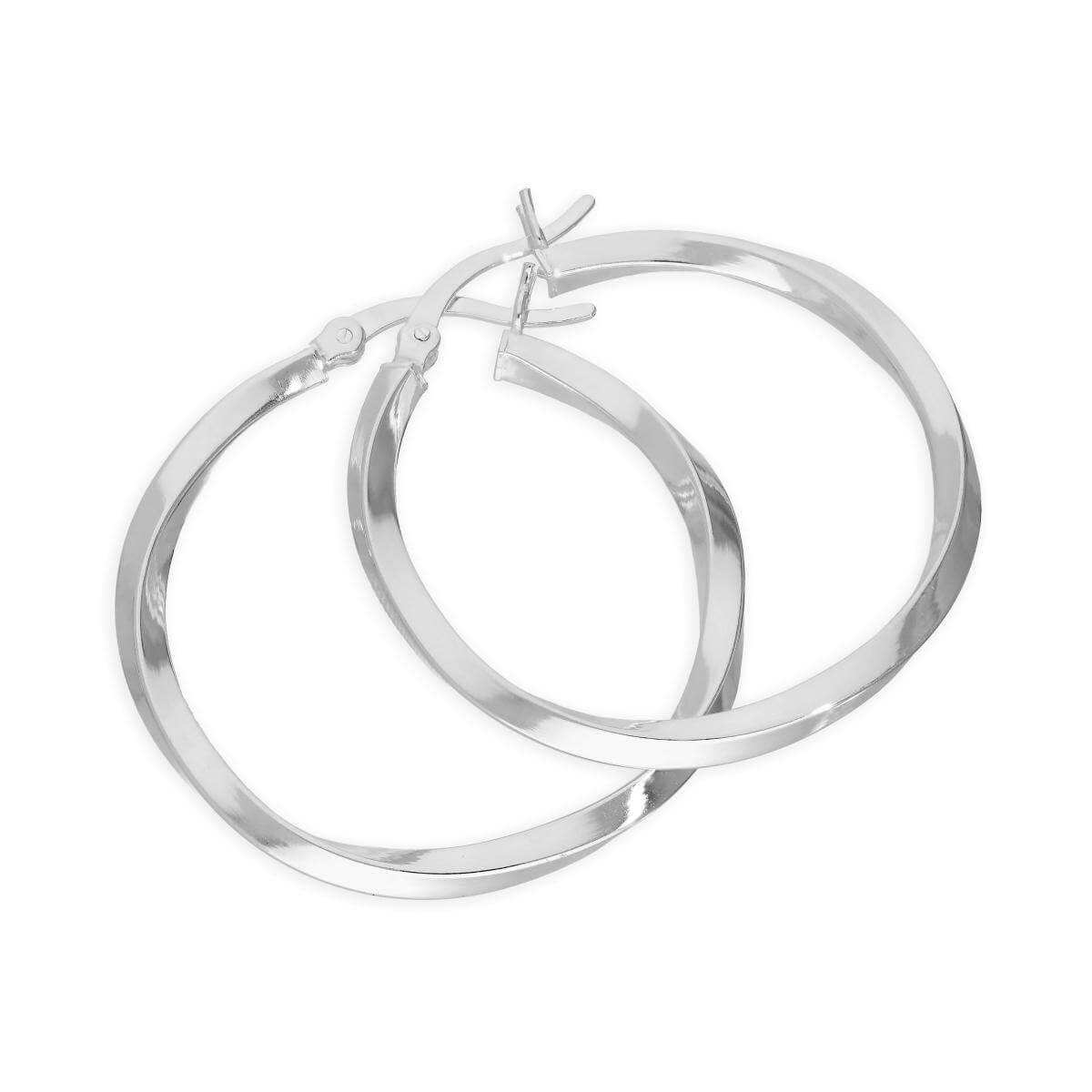 Sterling Silver Twisted 31mm Hoop Earrings
