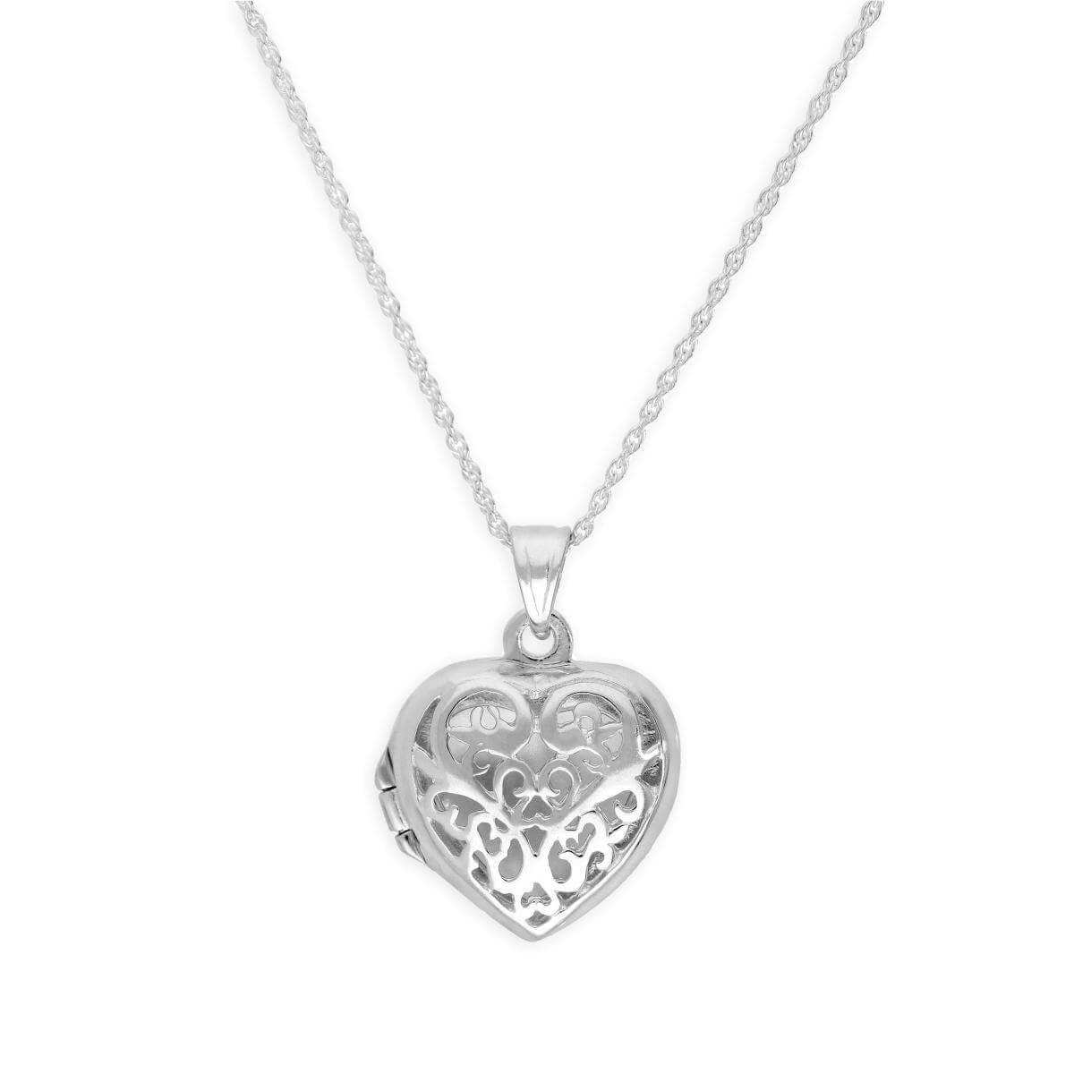 Sterling Silver Filigree Heart Locket on 18 Inch Chain