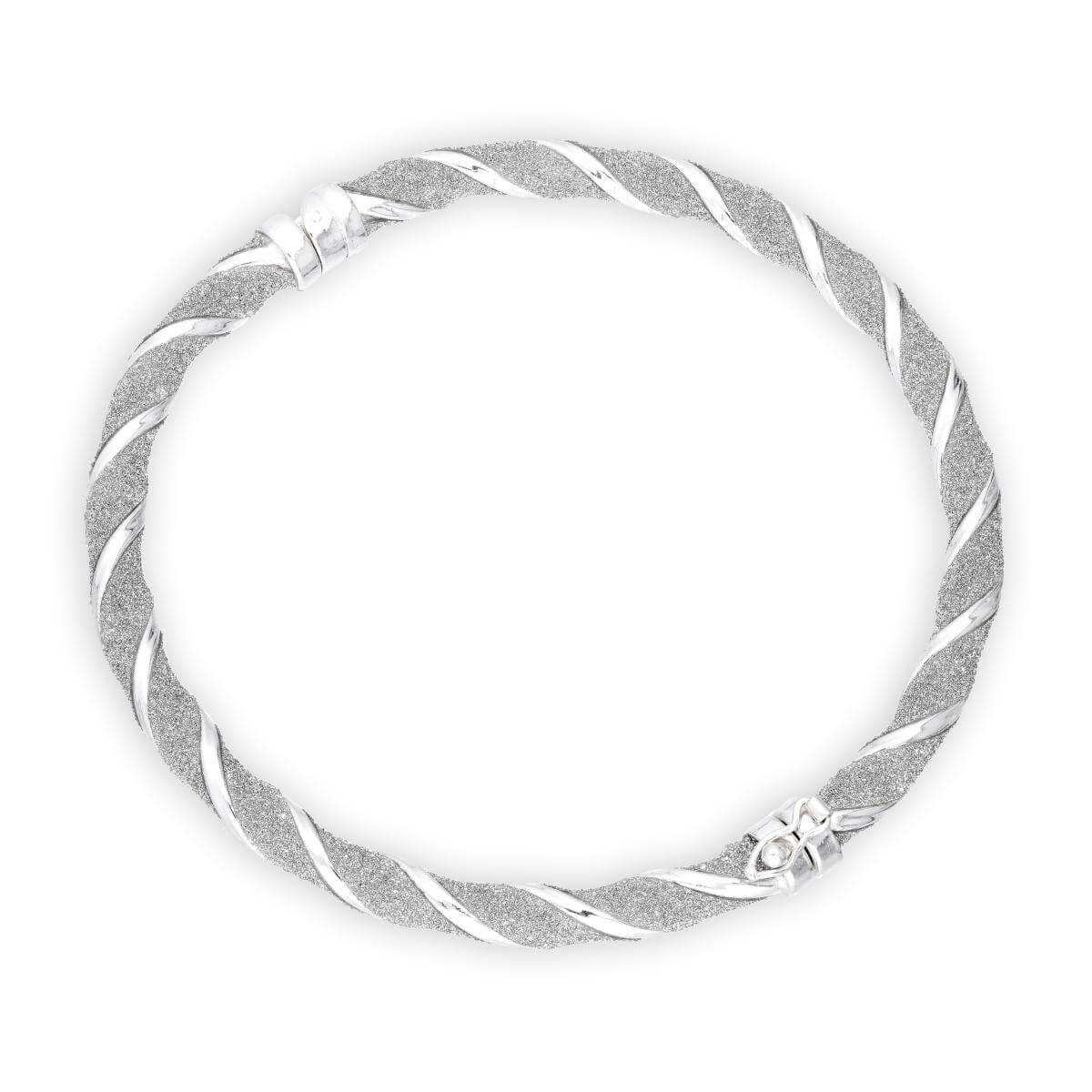 Sterling Silver Frosted Thick Twist Hinged Bangle