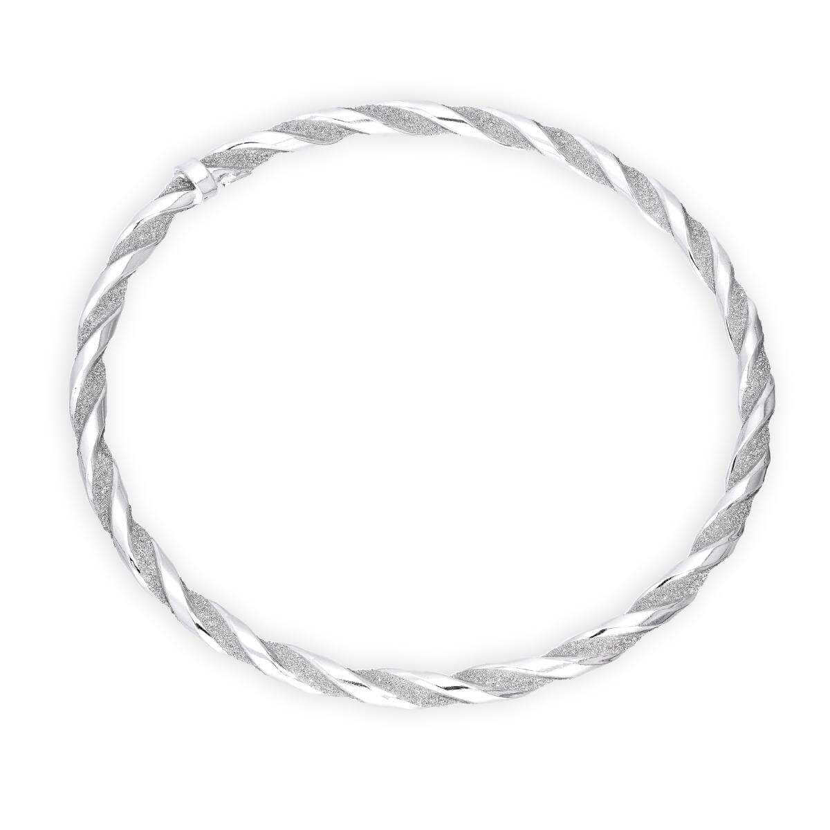 Sterling Silver Frosted Twist Bangle