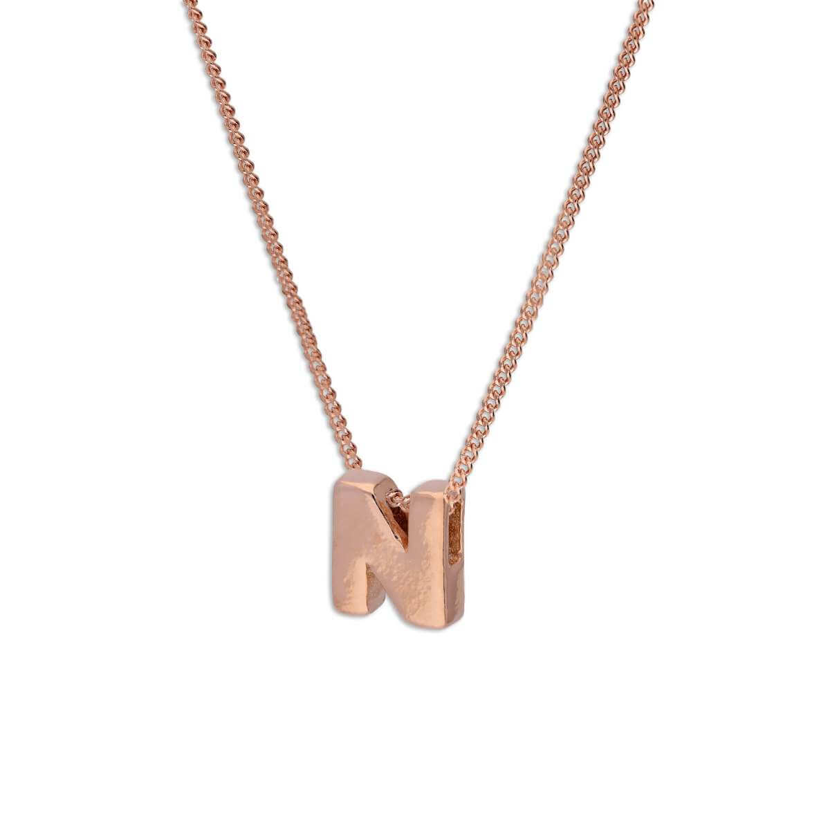 Rose Gold Plated Sterling Silver Letter N Pendant Necklace 14 - 32 Inches