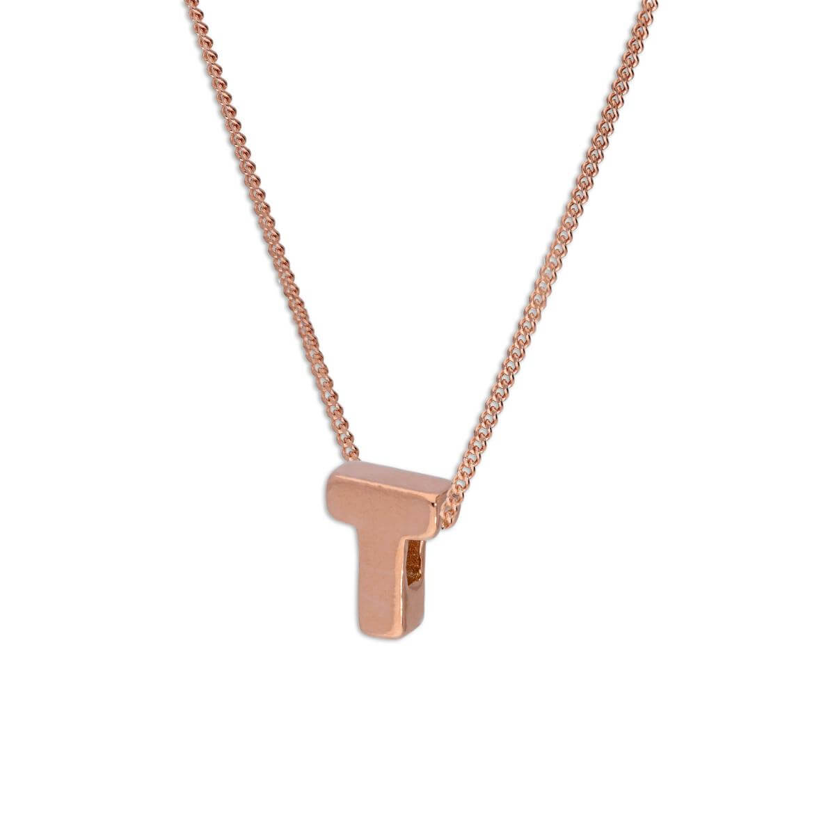 Rose Gold Plated Sterling Silver Letter T Pendant Necklace 14 - 32 Inches