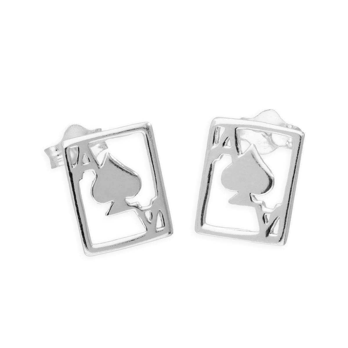 Sterling Silver Ace of Spades Stud Earrings