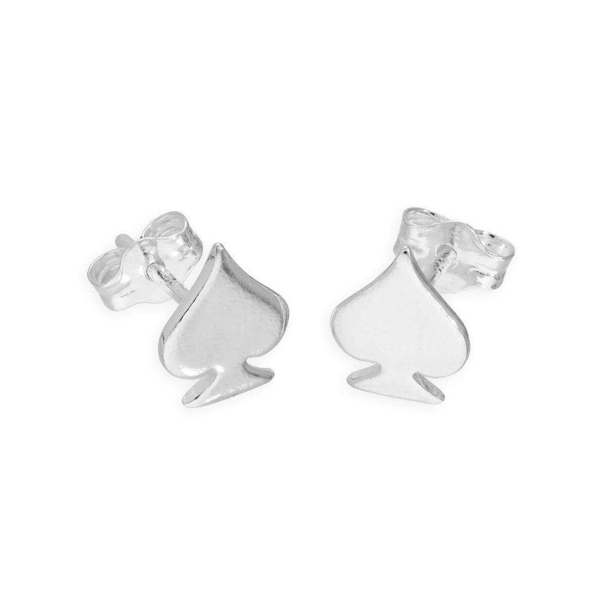 Sterling Silver Spades Stud Earrings