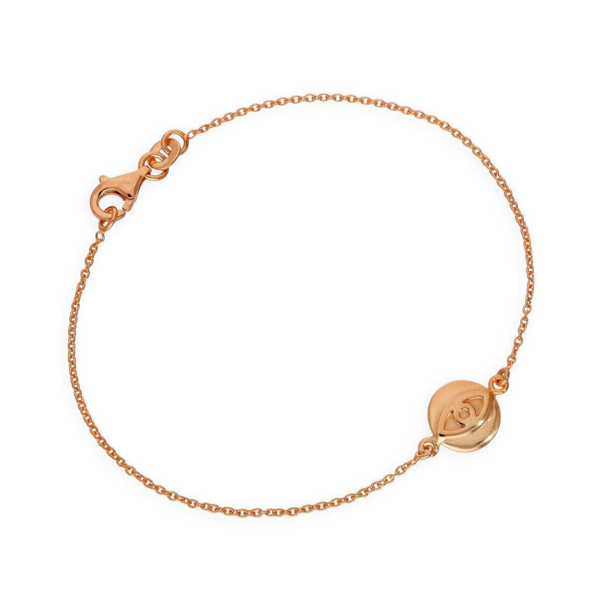 Rose Gold Plated Sterling Silver 7 Inch Evil Eye Bracelet