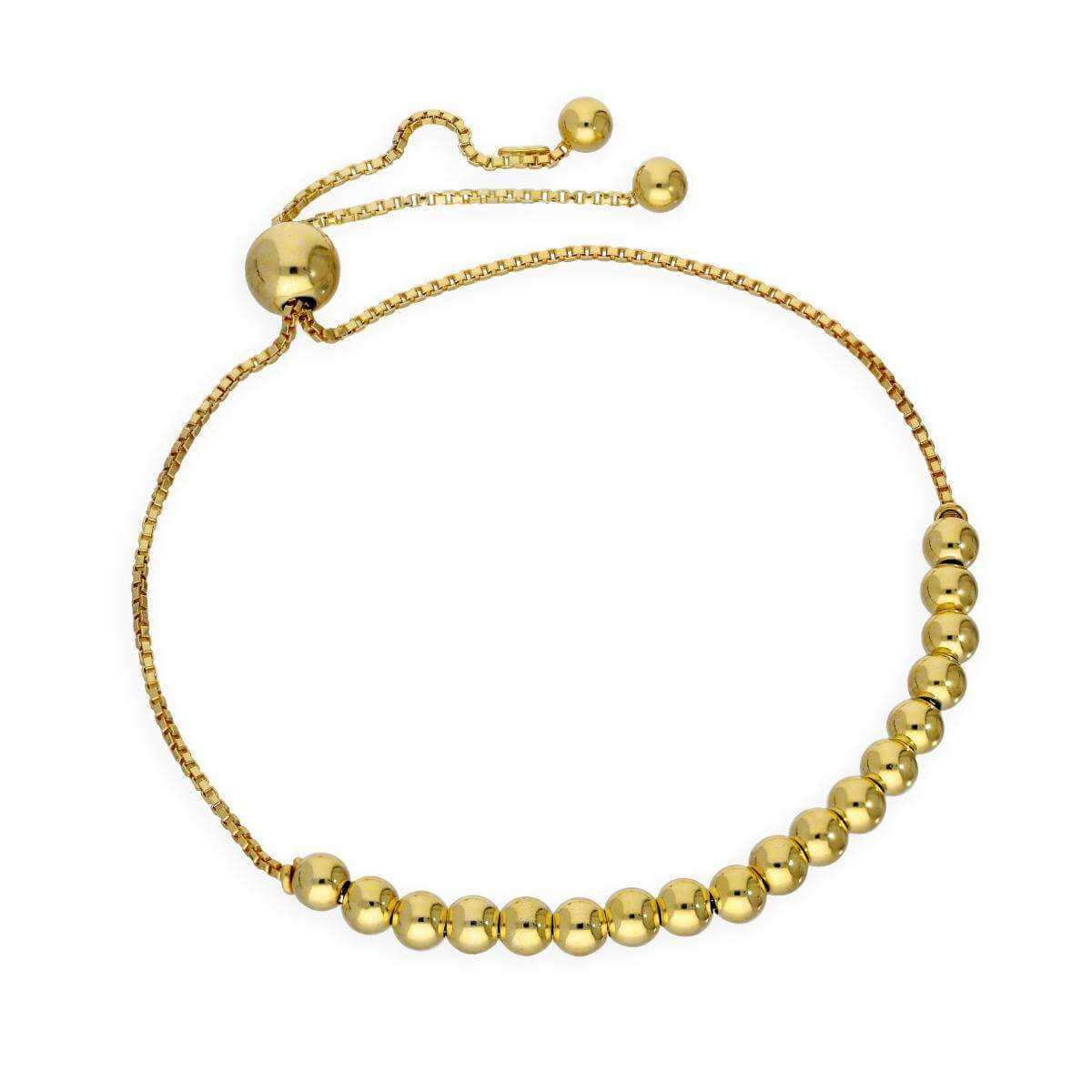 Gold Plated Sterling Silver Adjustable Bead Bracelet
