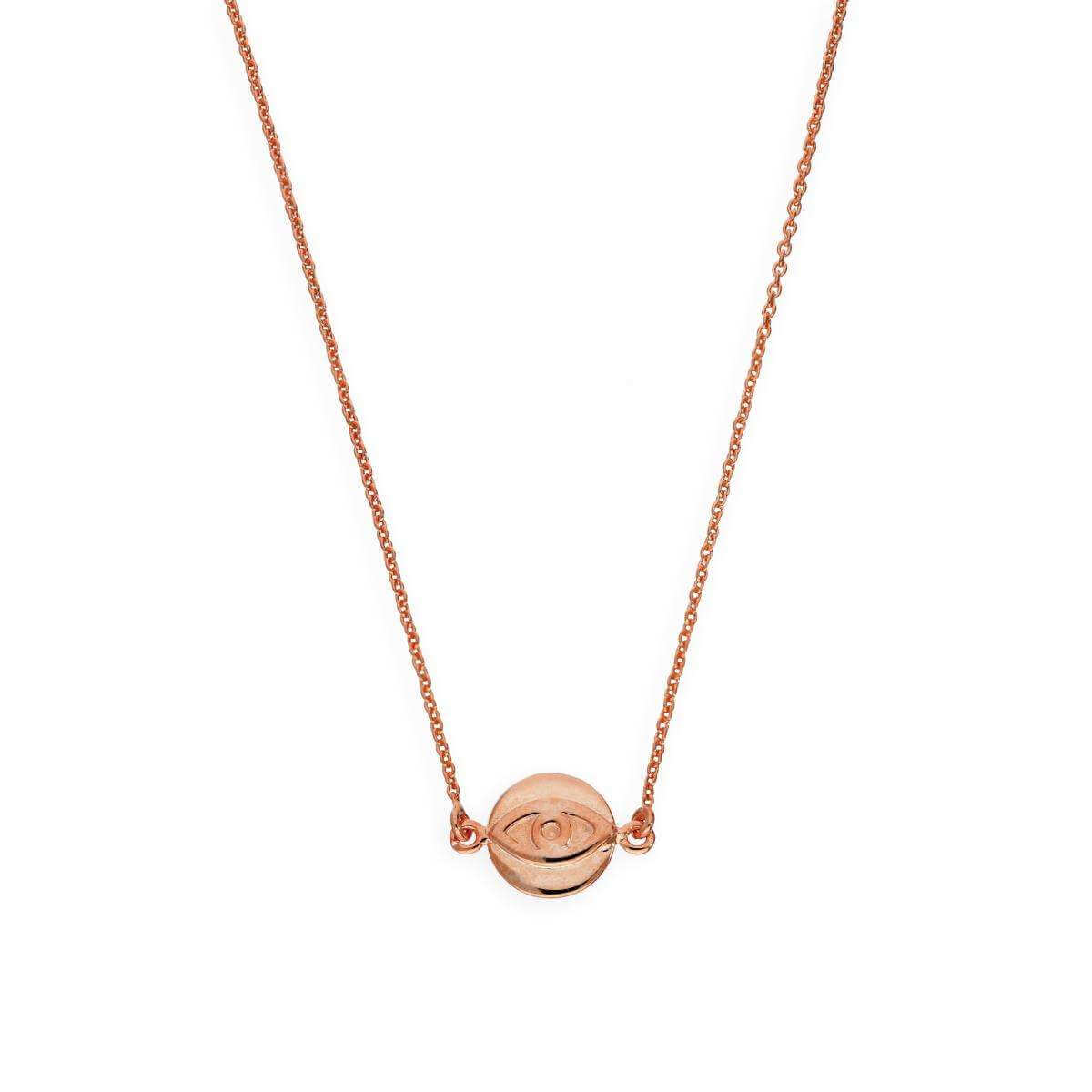 Rose Gold Plated Sterling Silver Evil Eye Pendant on 18 Inch Chain