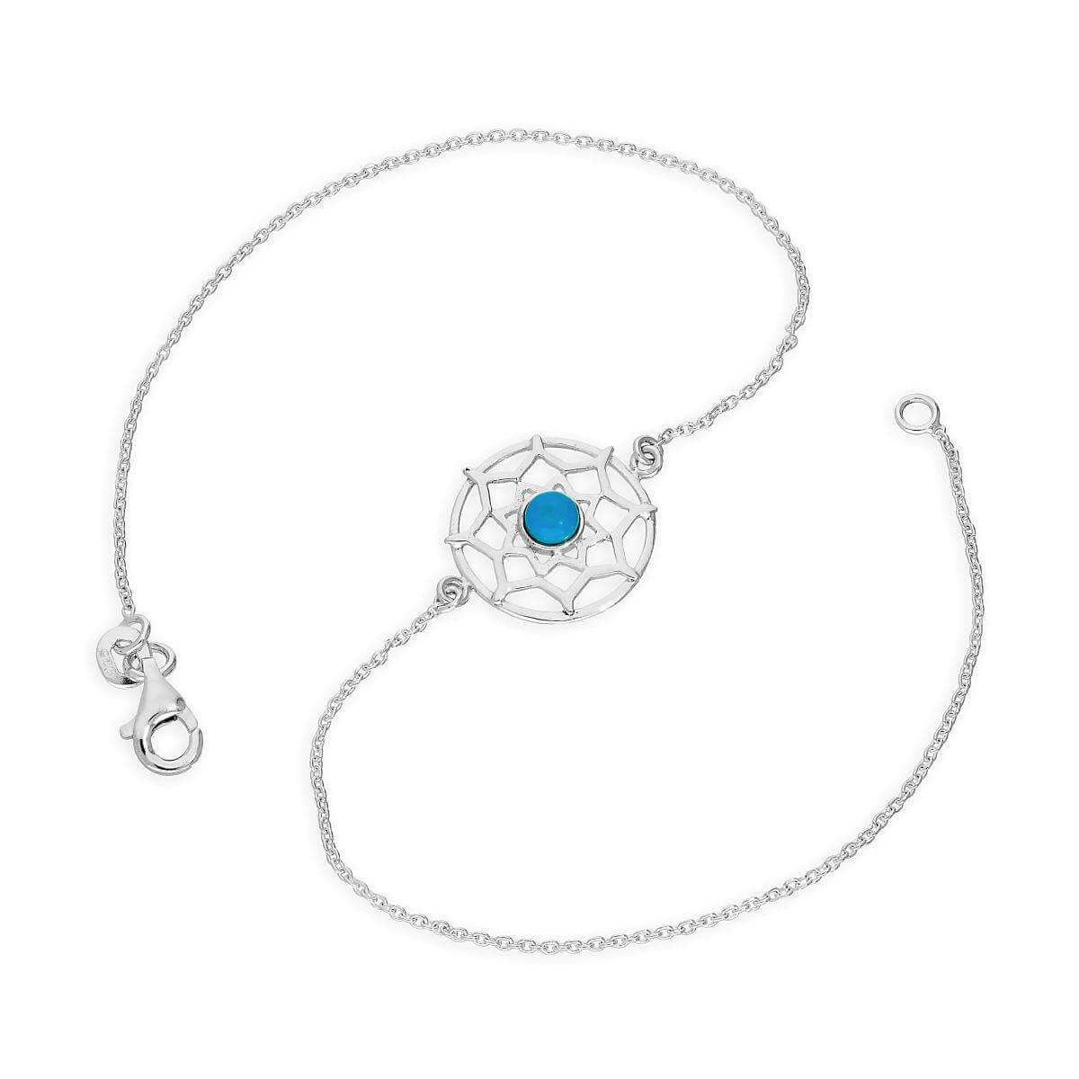 Sterling Silver & Blue Enamel Dreamcatcher Anklet 10 Inches