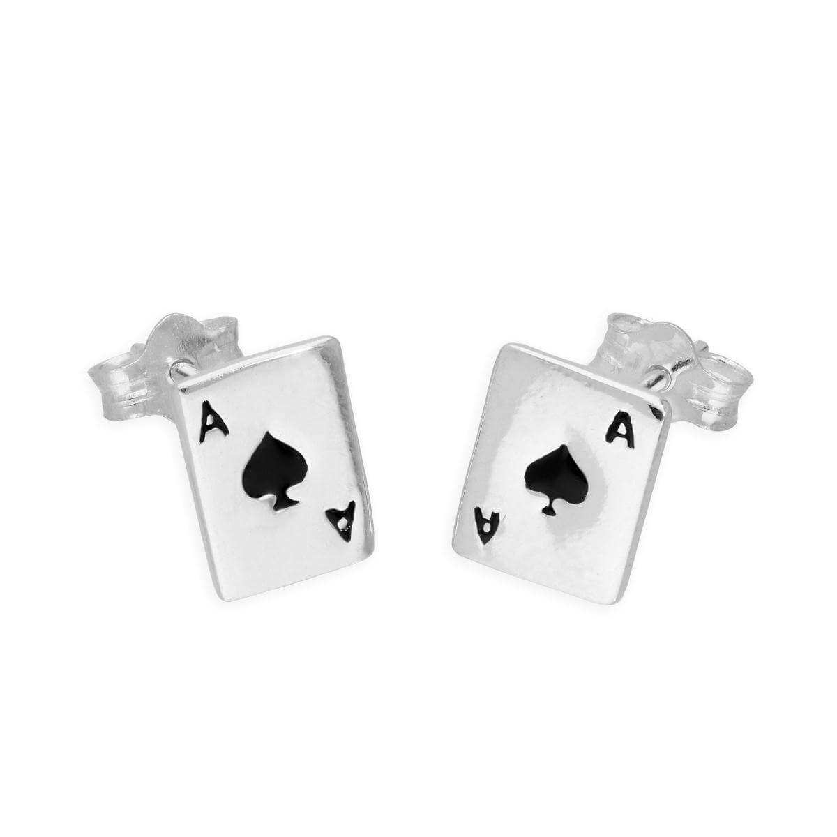 Sterling Silver & Black Enamel Ace of Spades Stud Earrings