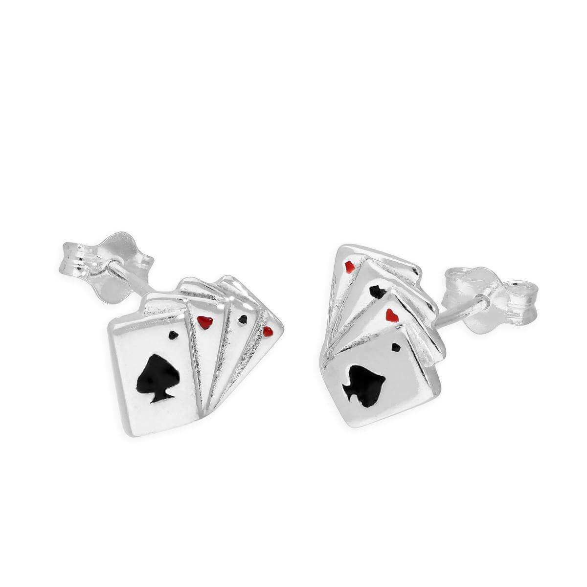 Sterling Silver & Coloured Enamel Aces of Spades Stud Earrings