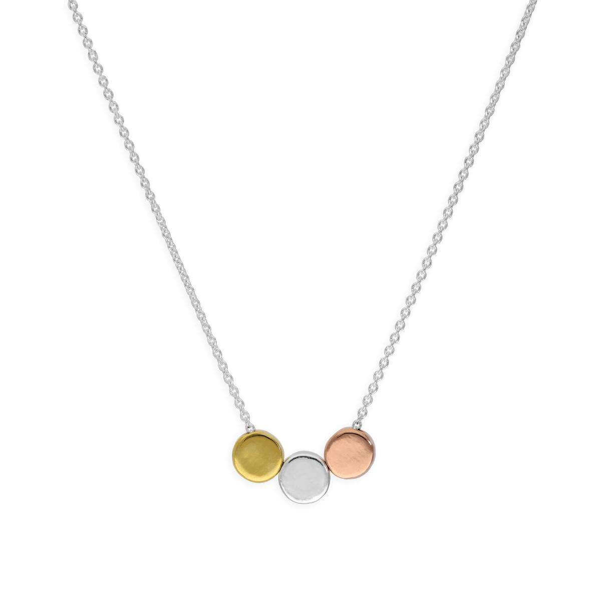Sterling Silver 18 Inch Necklace w Mixed Gold Plated Circles