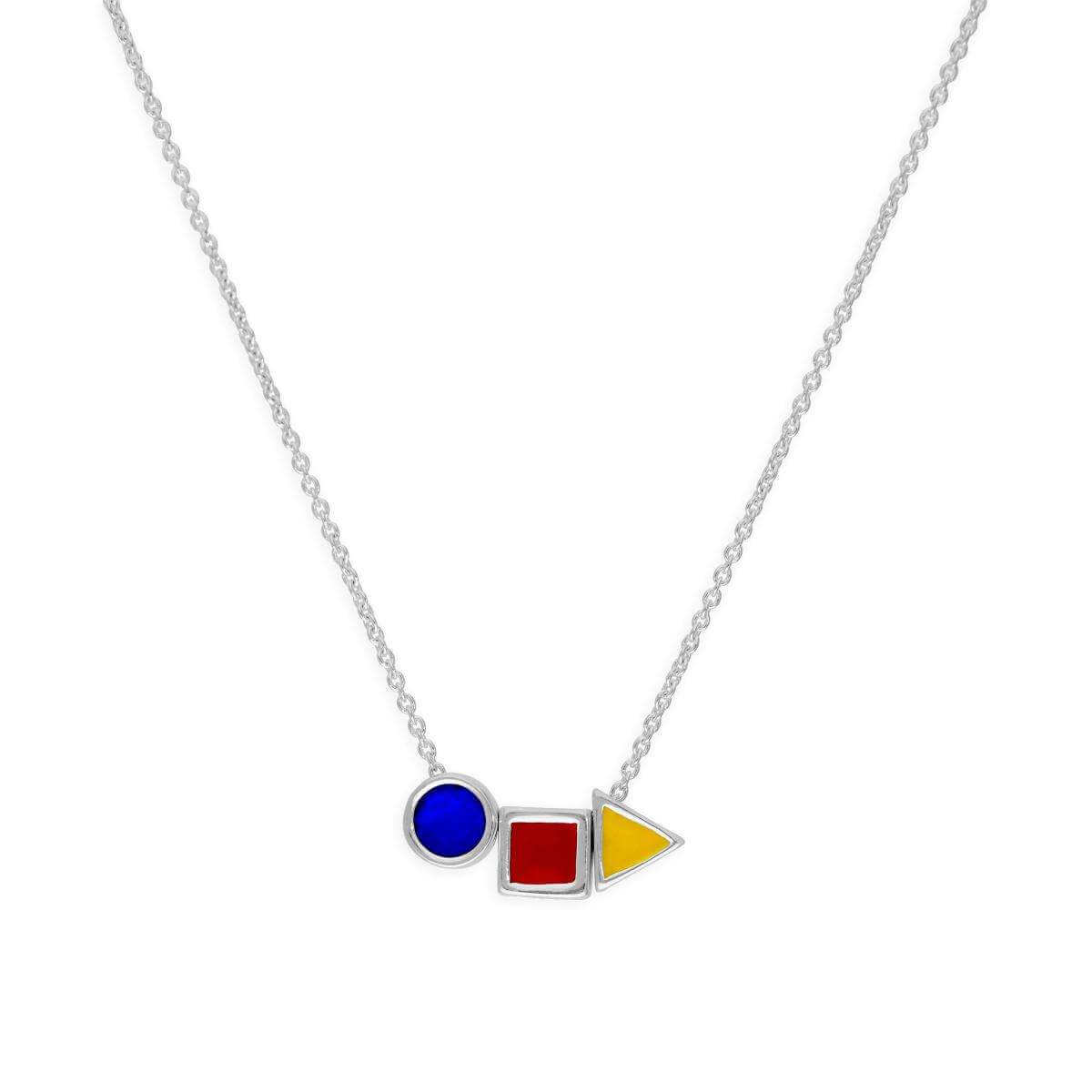 Sterling Silver & Coloured Enamel 18 Inch Bauhaus Design Necklace