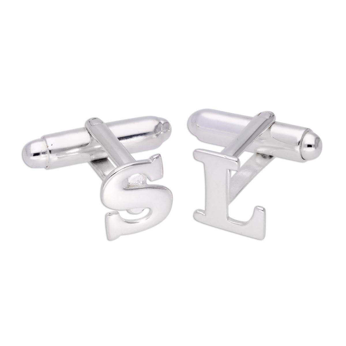 Sterling Silver Letter Swivel Back Cufflink A - Z