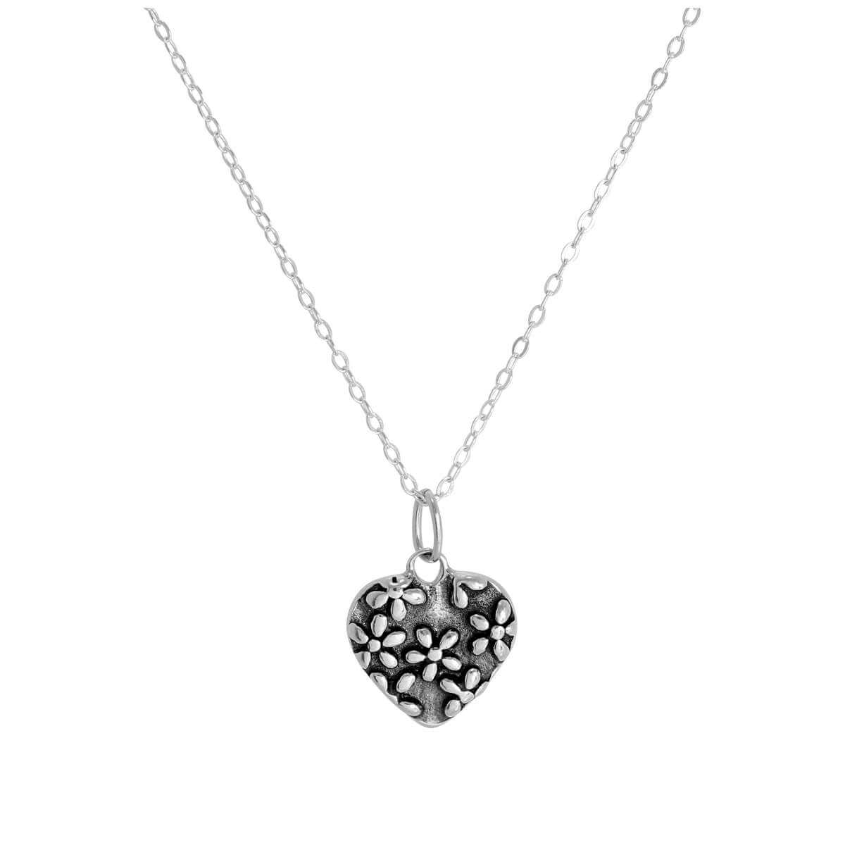 Sterling Silver Floral Heart Pendant Necklace 14 - 28 Inches