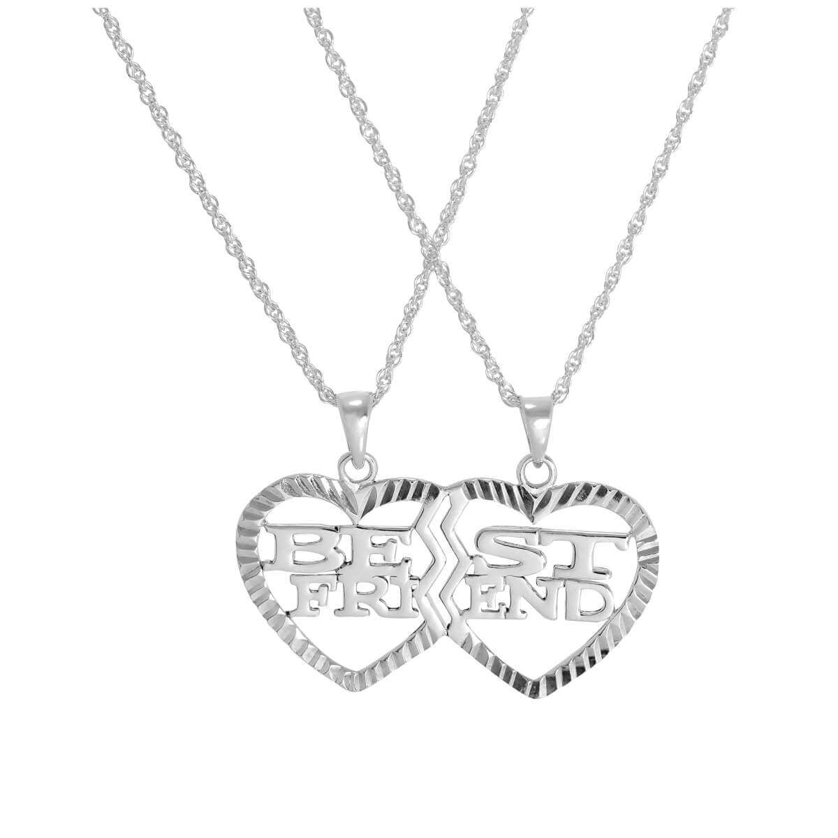 Sterling Silver Double Best Friends Heart Pendant Necklace 16 - 24 Inches