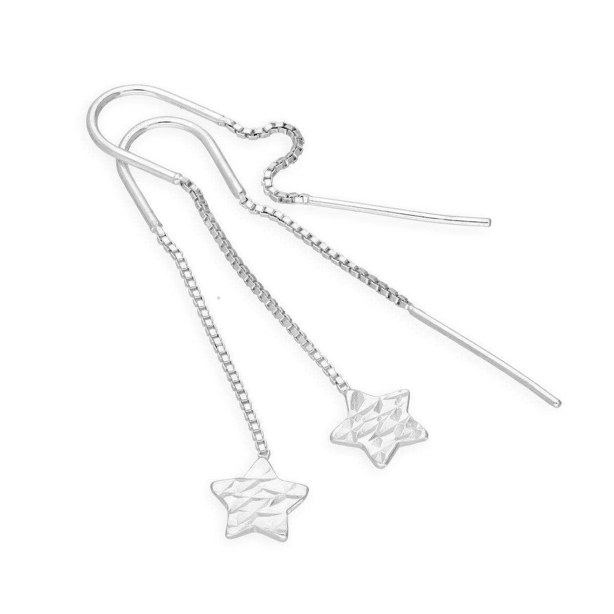 Sterling Silver Diamond Cut Star Pull Through Earrings