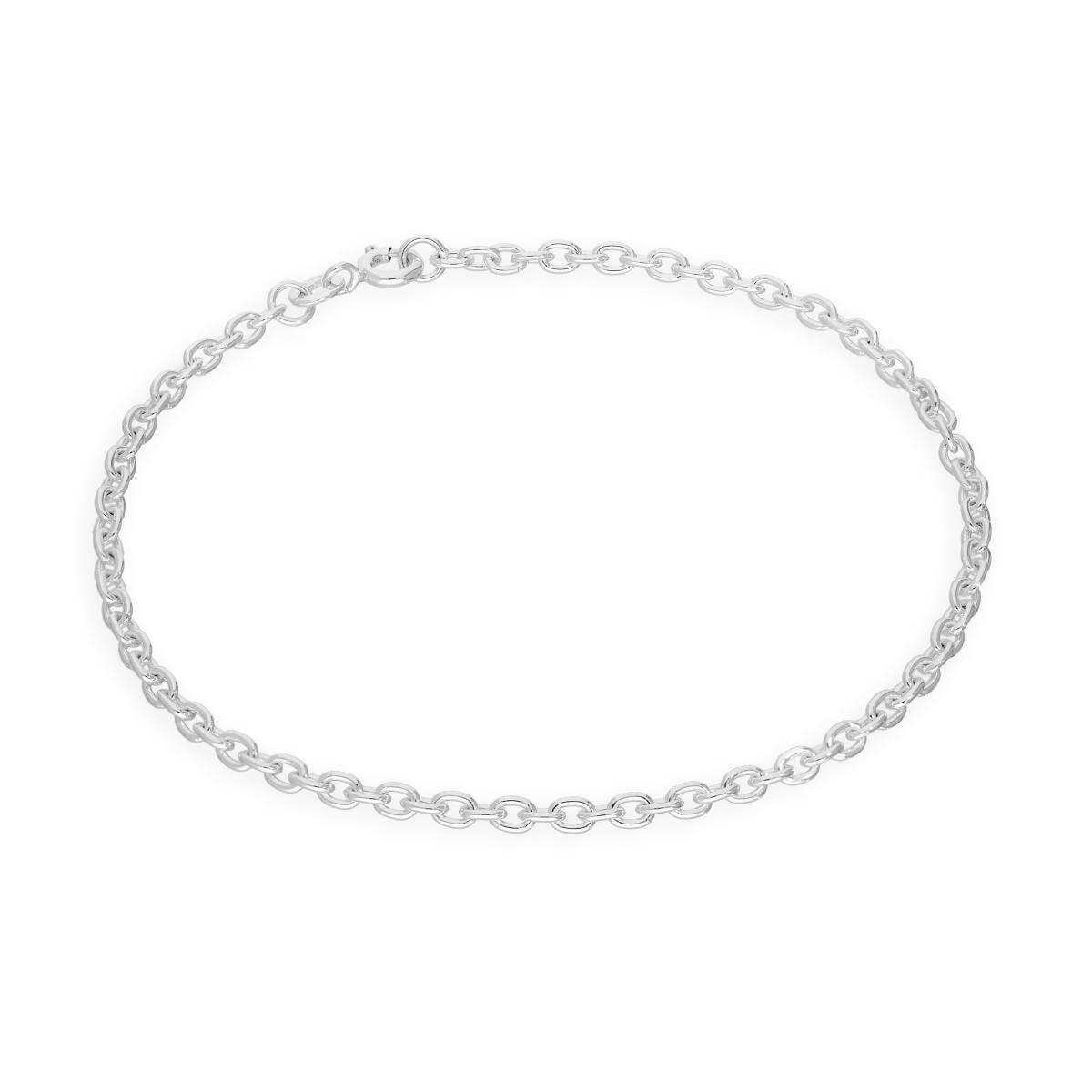 Sterling Silver 3mm Curb Cable Bracelet 6 - 8 Inches