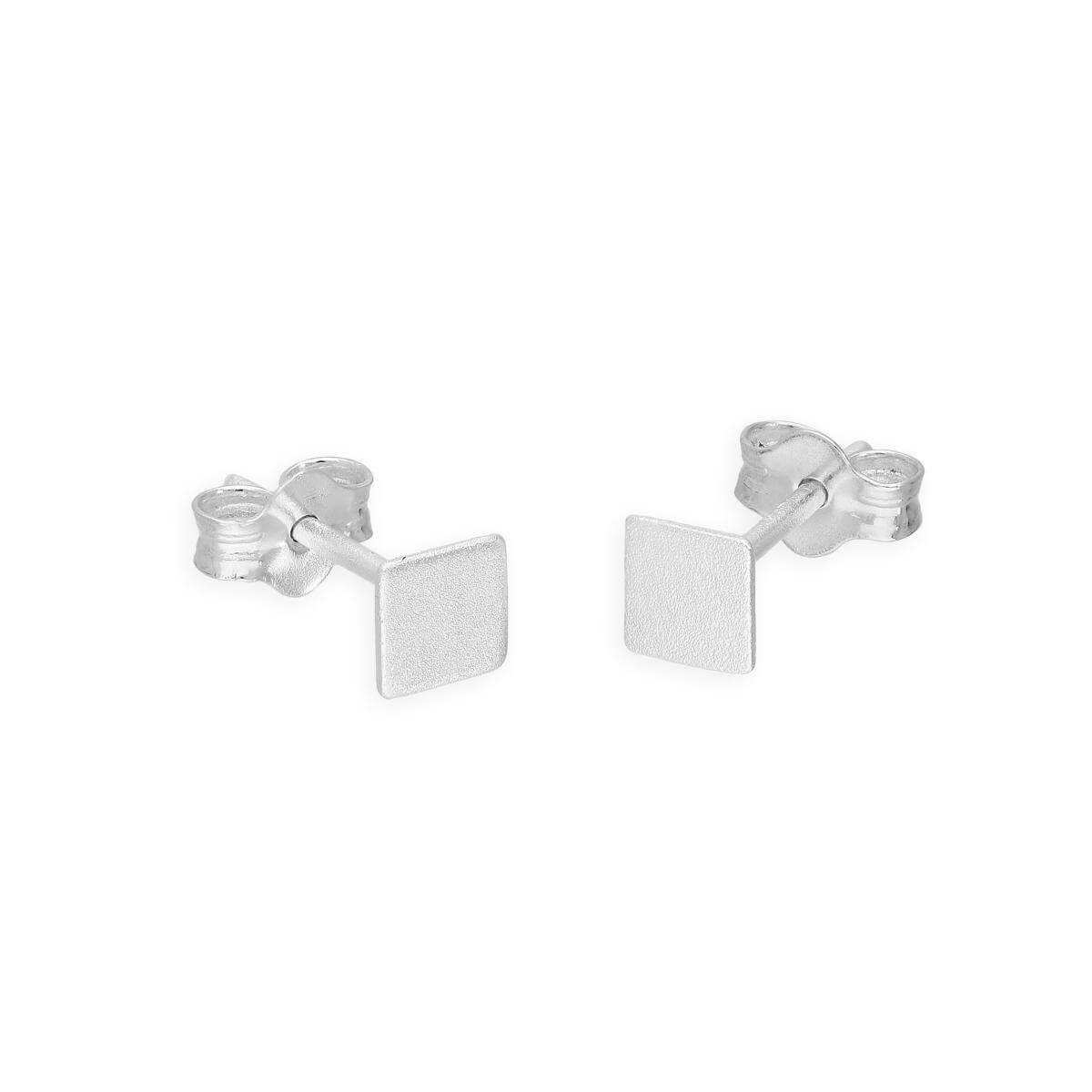 Small Sterling Silver 4mm Square Stud Earrings
