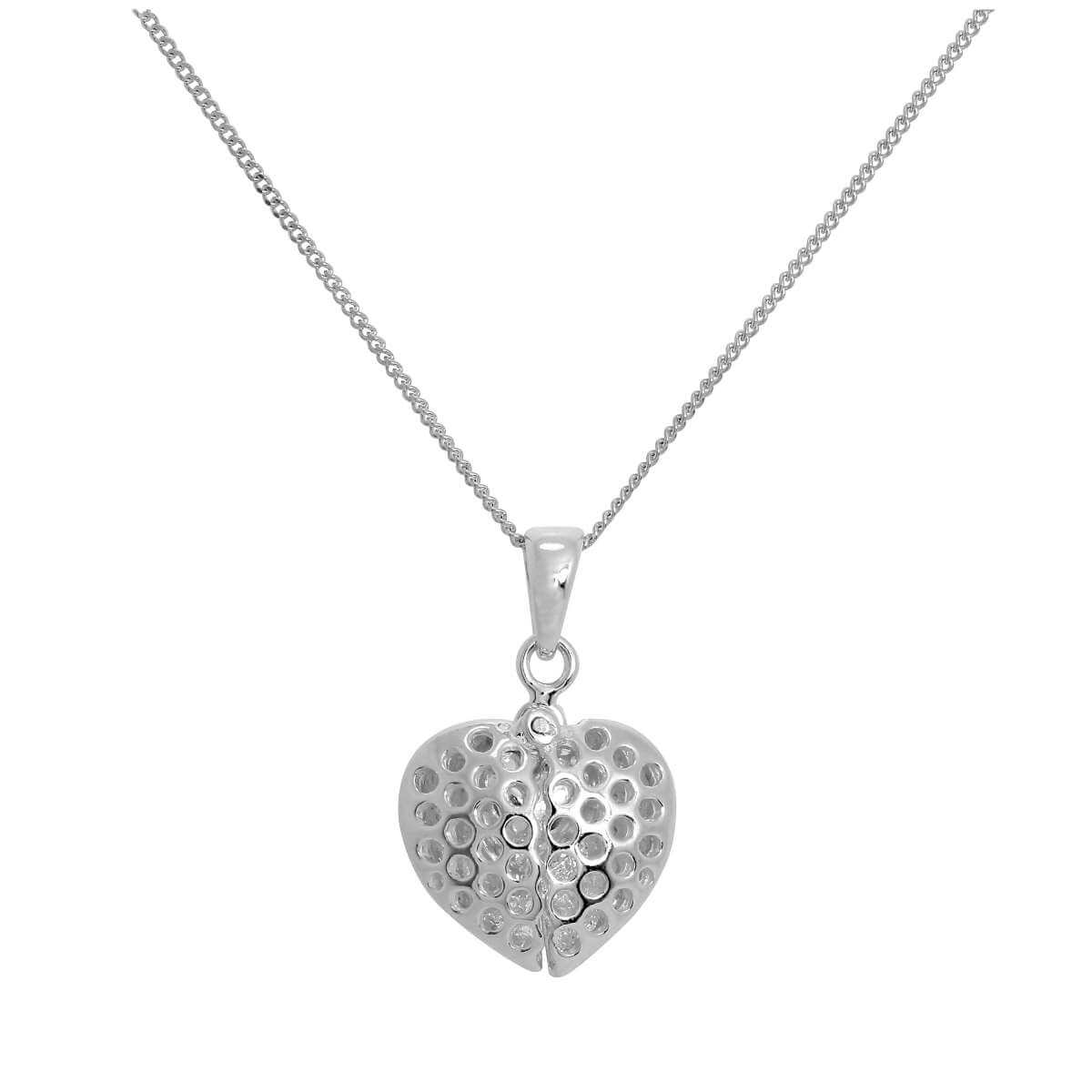 Sterling Silver Opening Heart Pendant with Little Heart Inside on Chain 14 - 32 Inches