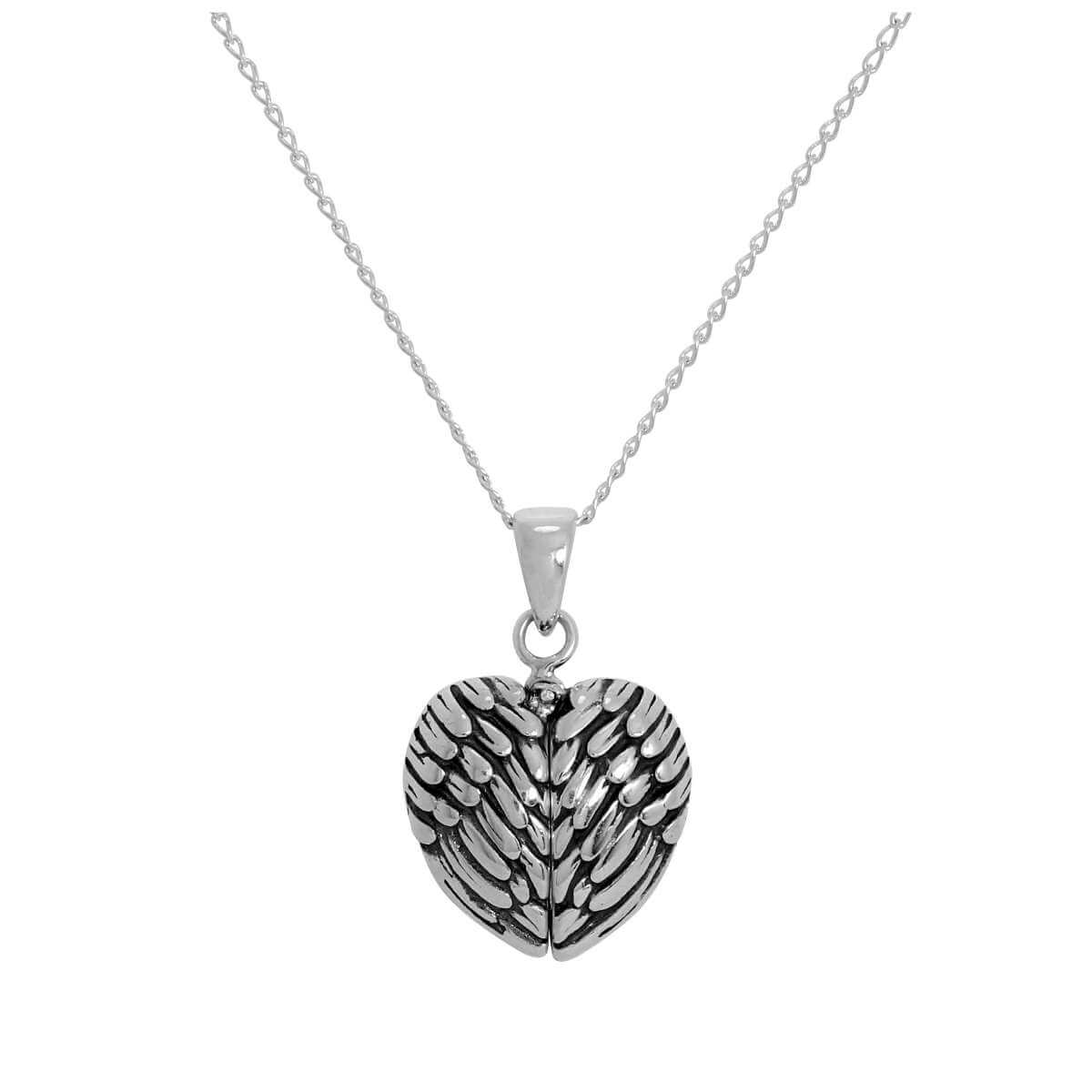 Sterling Silver Opening Angel Wing Heart Pendant with Little Heart Inside on Chain 14 - 22 Inches