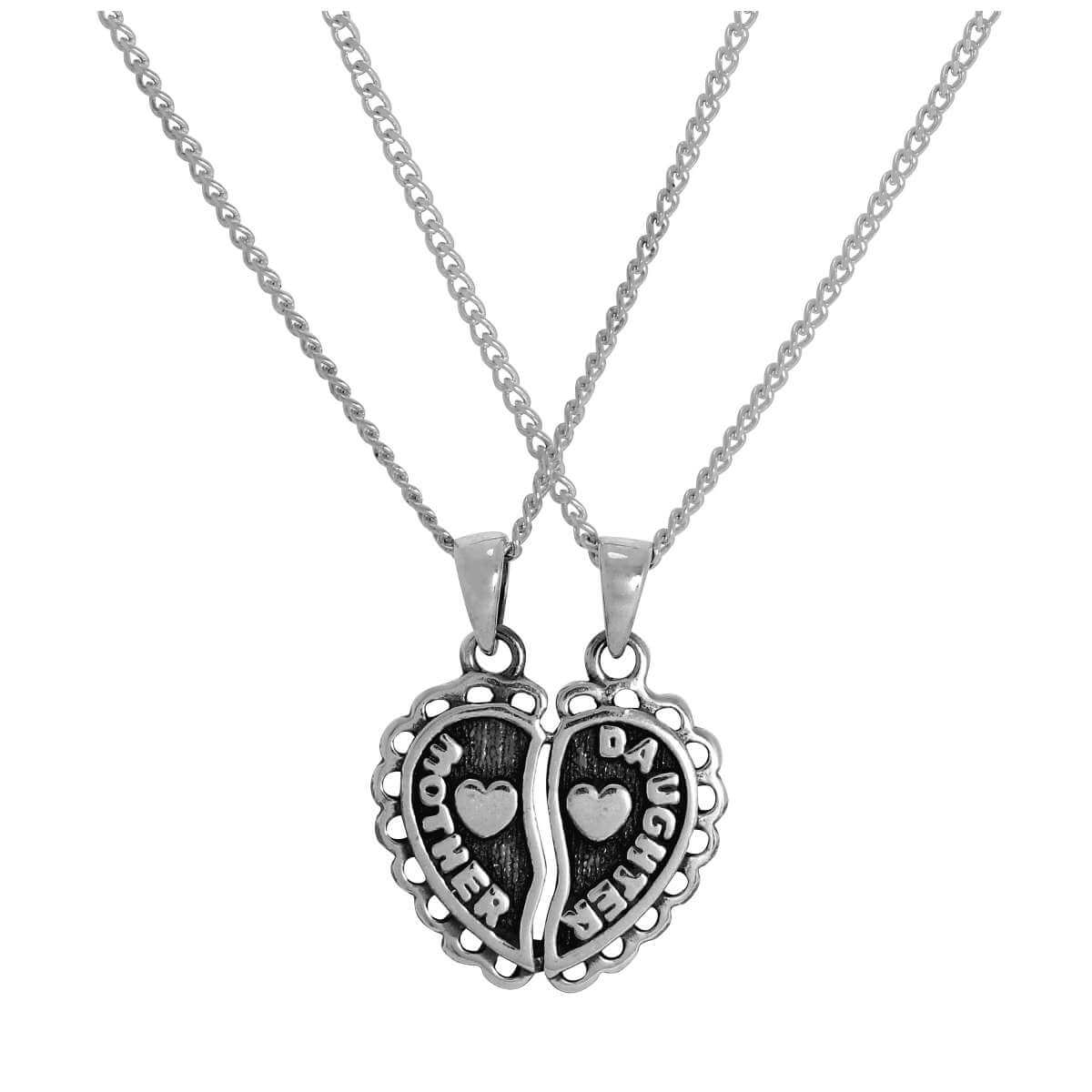 Sterling Silver Mother & Daughter Heart Double Pendant Necklace 16 - 24 Inches