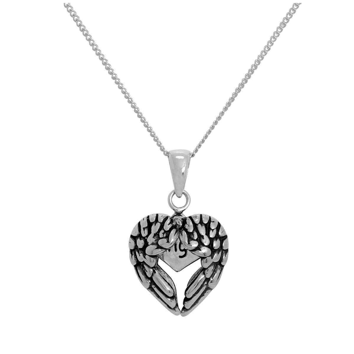 Sterling Silver Opening Angel Wings Heart Pendant with Little Heart Inside on Chain 14 - 32 Inches