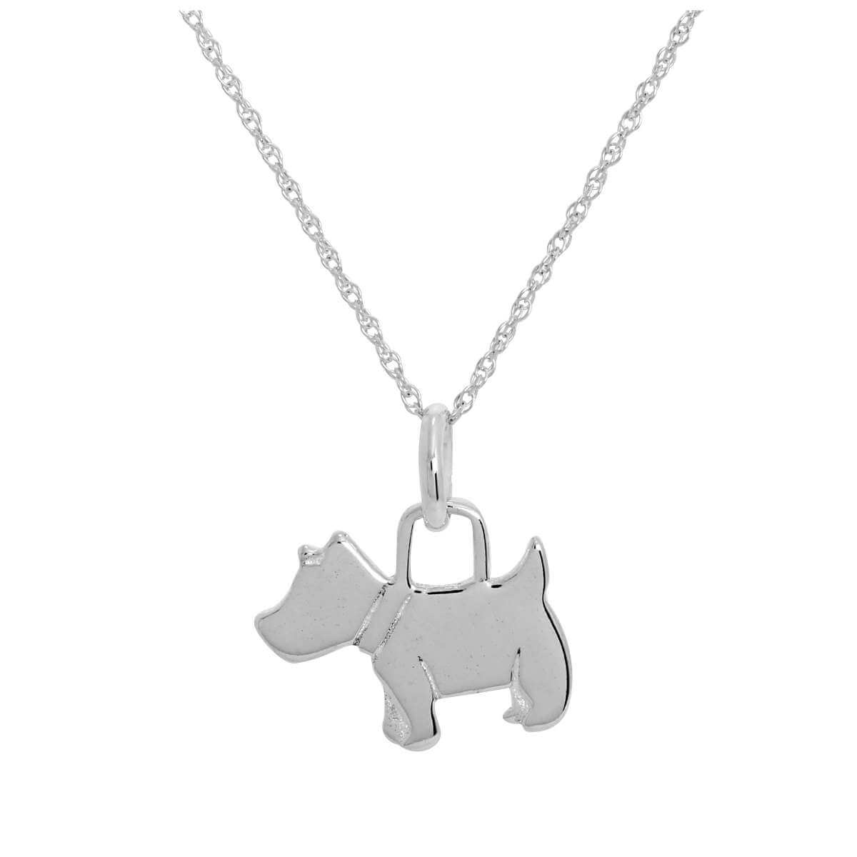 Sterling Silver Scottie Dog Pendant Necklace 14 - 22 Inches