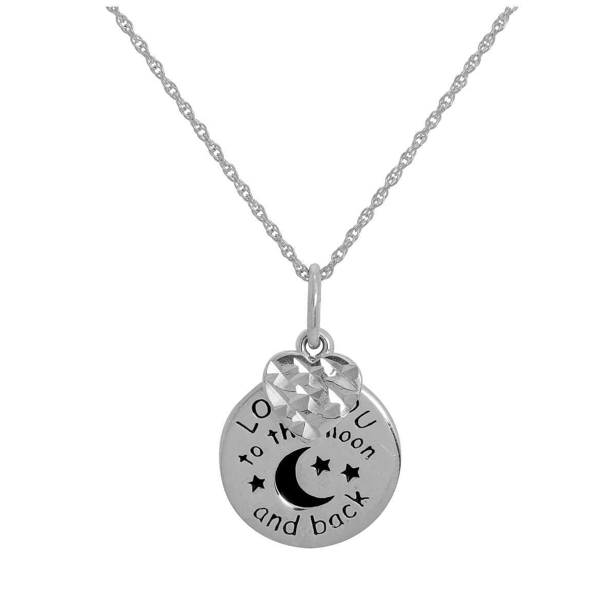 Sterling Silver Love You To The Moon & Back Necklace with Heart 14 - 22 Inches