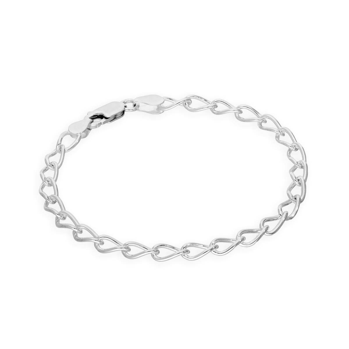Sterling Silver Open 4mm Curb Charm Bracelet 6 - 8 Inches