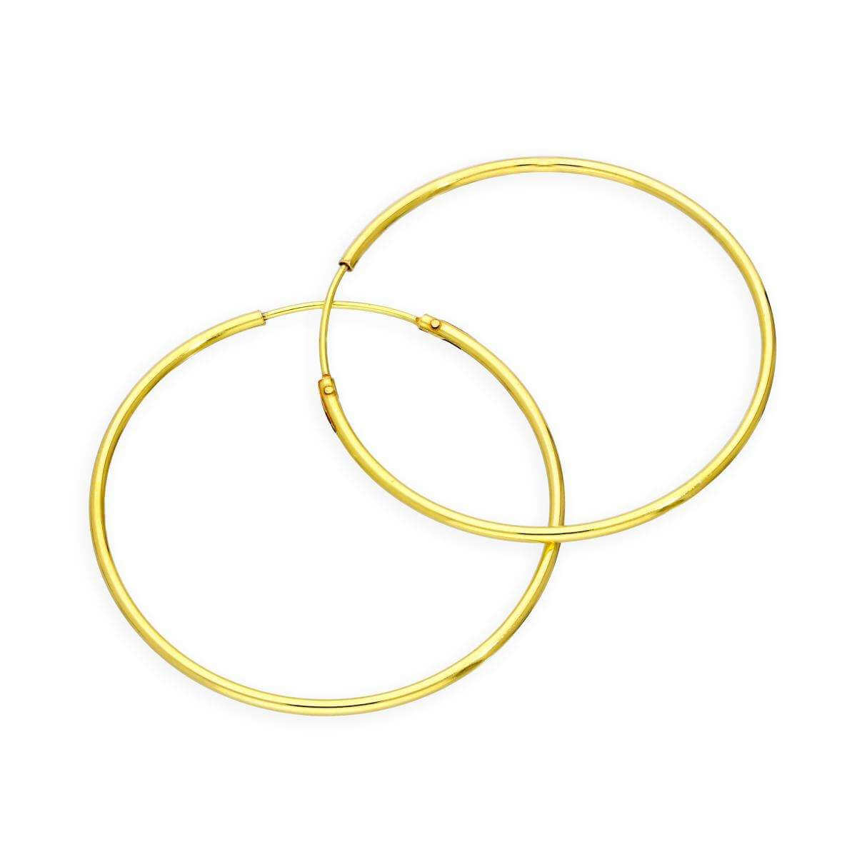 Gold Plated Sterling Silver 35mm Hoop Sleeper Earrings