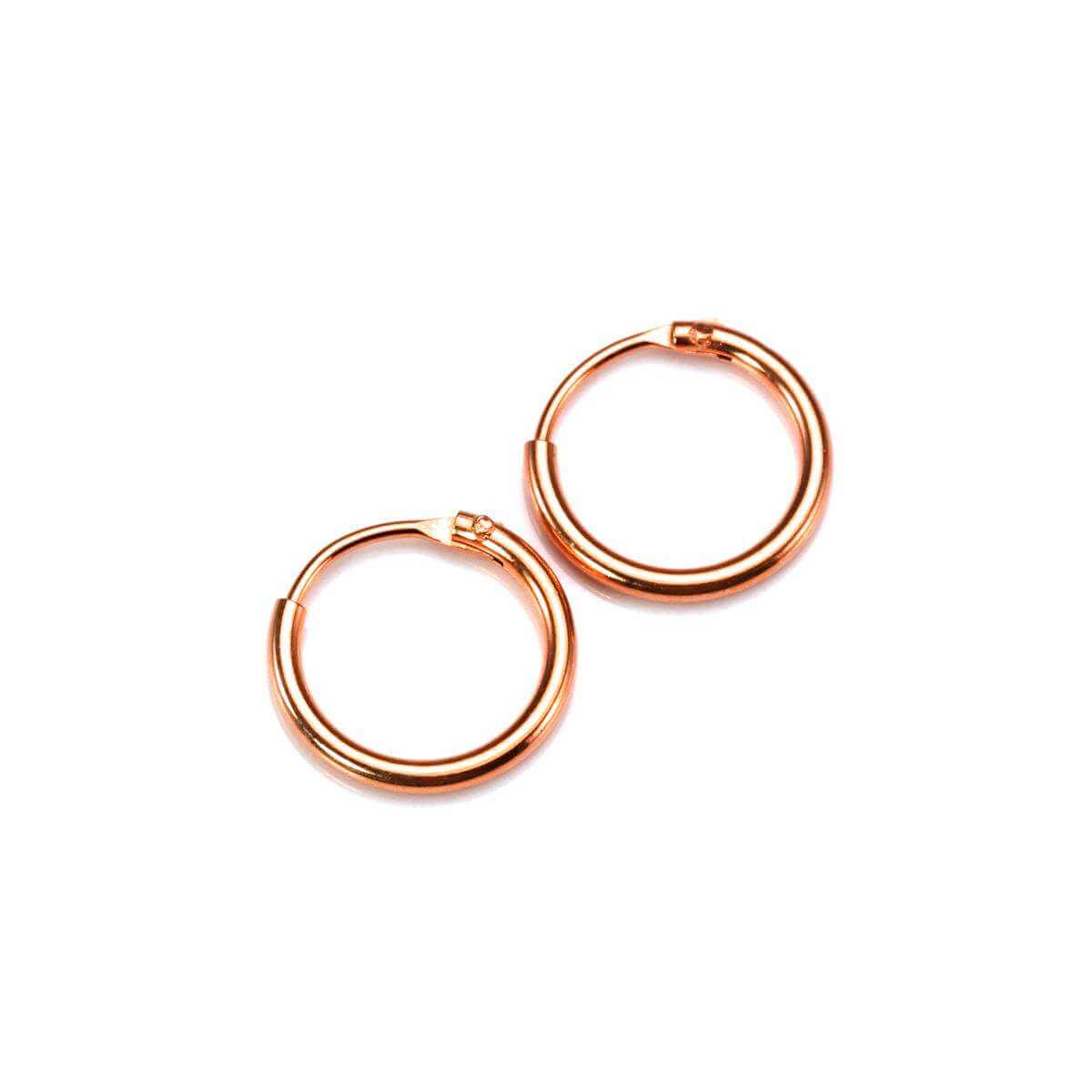 Rose Gold Plated Sterling Silver Lightweight Sleeper Hoops 10mm