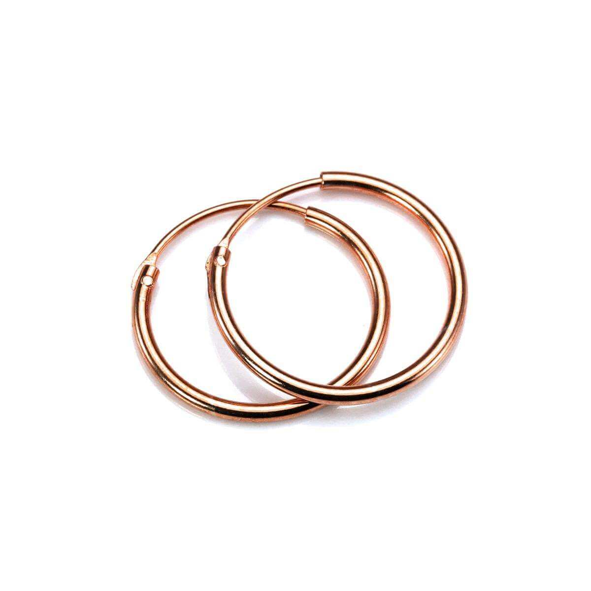 Rose Gold Plated Sterling Silver Lightweight Sleeper Hoops 16mm