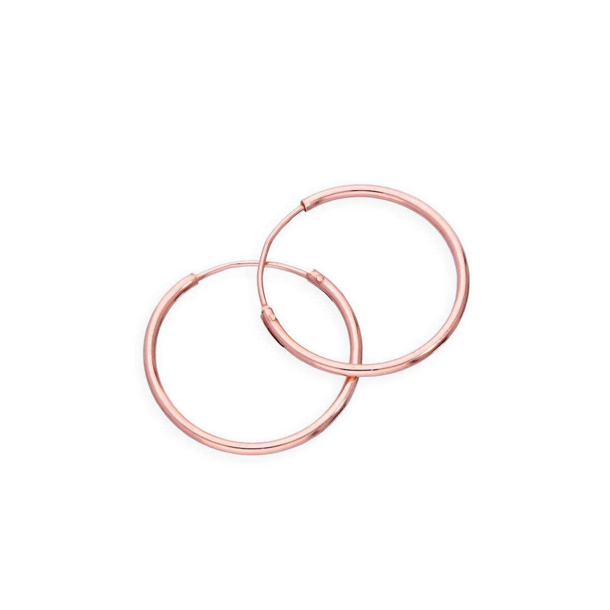 Rose Gold Plated Sterling Silver Lightweight Sleeper Hoops 20mm