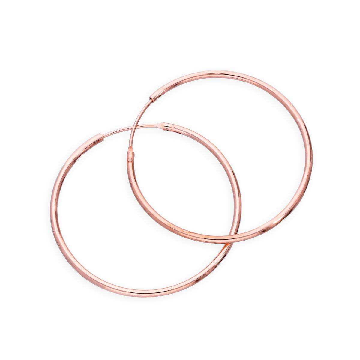 Rose Gold Plated Sterling Silver Lightweight Sleeper Hoops 30mm