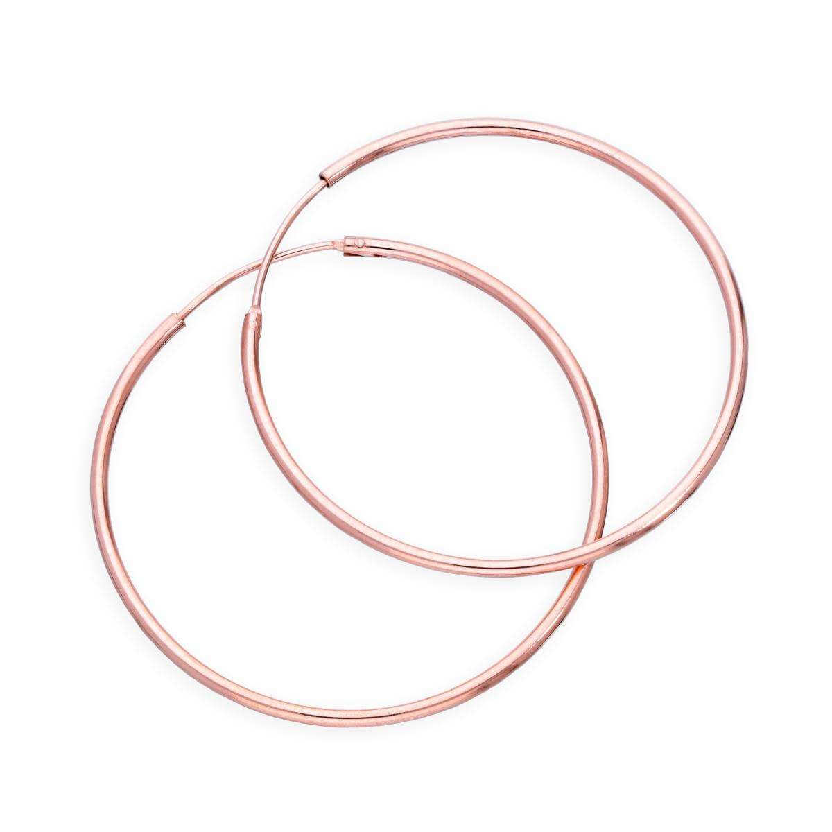 Rose Gold Plated Sterling Silver Lightweight Sleeper Hoops 35mm
