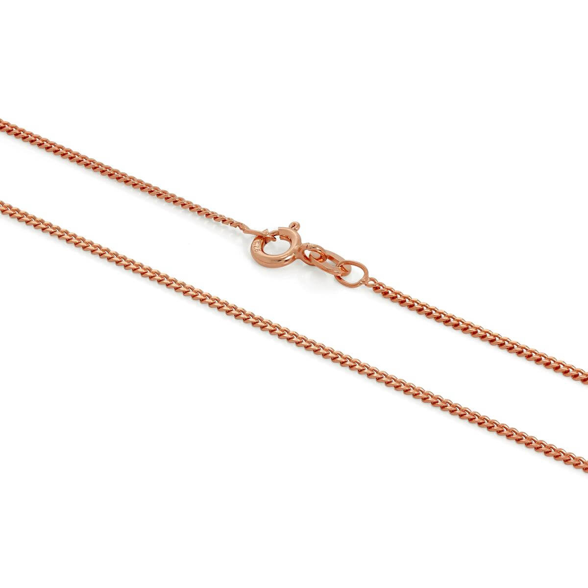 Rose Gold Dipped Sterling Silver 1mm Curb Chain 16 - 24 Inches