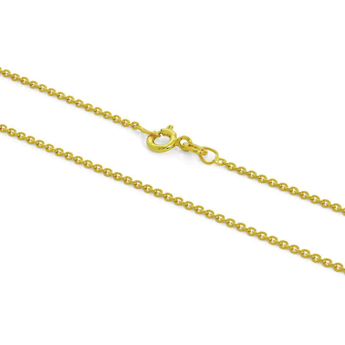 Gold Plated Sterling Silver 1mm Cable Chain 16 - 24 Inches