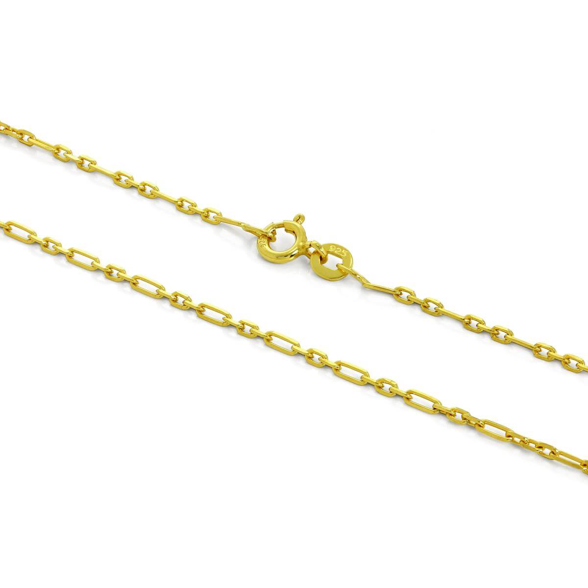 Gold Plated Sterling Silver 2mm Rounded Figaro Chain 16 - 24 Inches